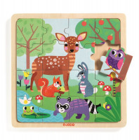 Dřevěné puzzle - V lese - 16 ks