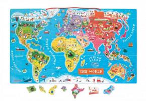 Magnetická mapa sveta - puzzle 92 magnetov - anglická verzia