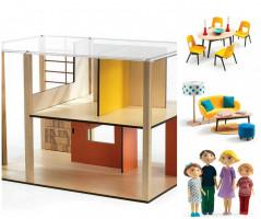 Domček pre bábiky – moderný domček – súprava s nábytkom a rodinou Gasparda a Romy