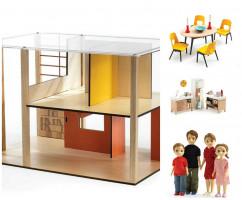 Domček pre bábiky - moderný domček - súprava s nábytkom a s rodinou Toma a Marion