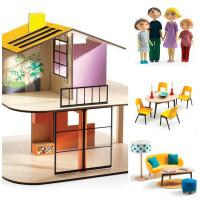 Domček pre bábiky – farebný domček – súprava s nábytkom a rodinou Gasparda a Romy