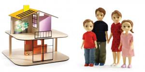Domček pre bábiky – farebný domček – súprava s rodinou Toma a Marion