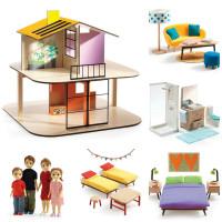 Domeček pro panenky - barevný domek - set s nábytkem a s rodinou Toma a Marion
