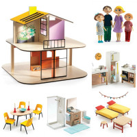 Domček pre bábiky - farebný domček - súprava s nábytkom a rodinou Gasparda a Romy
