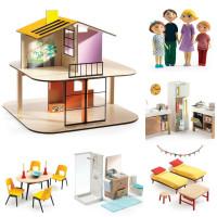 Domeček pro panenky - barevný domek - set s nábytkem a rodinou Gasparda a Romy