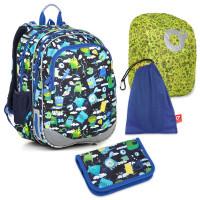 Velký školní set Topgal ELLY 18002 B - batoh + penál + pytlík na přezůvky + pláštěnka ZIGI