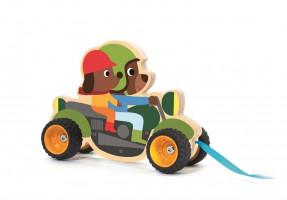 Dřevěná čtyřkolka - tahací hračka