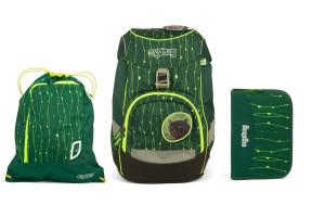 Školní set Ergobag prime Fluo zelený - batoh + penál + sportovní pytel