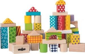 Woody Stavebnice kostky barevné v kartonu, 50 dílů