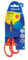 Dětské ergonomické nůžky Griffix s kulatou špičkou - pro praváky, červené, na blistru