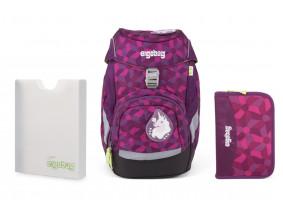 Školský set Ergobag prime fialový - batoh + peračník + dosky