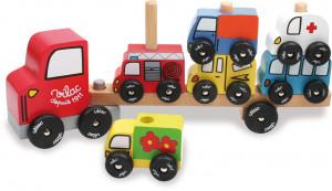 Dřevěný kamion s auty