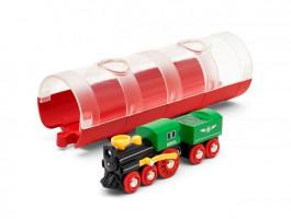 Tunel a parní vlak