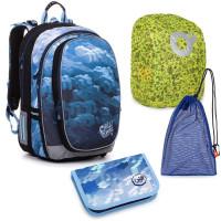 Velký školní set Topgal MIRA 20018 B batoh + penál + pytlík na přezůvky + pláštěnka