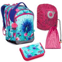 Set pre školáčku COCO 20003 G SET LARGE - školská taška, vrecko na prezuvky, pláštenka na batoh, školský peračník