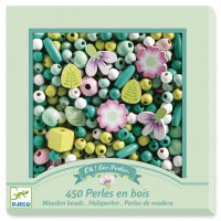 Dřevěné korálky - Listy a květiny