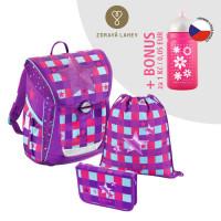 Školní aktovka - 3-dílný set, Baggymax Fabby Pink Star + zdravá lahev za 1 Kč