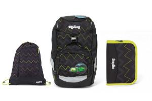 Školní set Ergobag prime Černý Zig Zag 2020 - batoh + penál + sportovní pytel