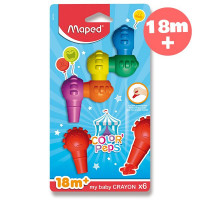Voskové pastely Maped Color'Peps Baby Crayons, 6 barev
