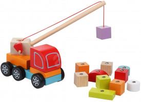 Autojeřáb s magnetem - dřevěná skládačka - 14 dílů