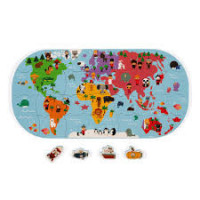 Puzzle - Mapa světa - hračka do vody - 28 ks - promáčklý obal sleva 20%