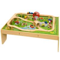 Bigjigs - Dřevěná vláčkodráha se stolem - 59 dílů