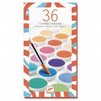 Vodové barvy se štětcem, 36 krásných barev