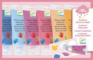 Prstové barvy v tubě pro dívky - 6 ks