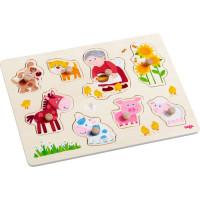 Dřevěné vkládací puzzle – babička Lena a její zvířátka