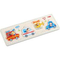 Dřevěné vkládací puzzle – záchranářská vozidla