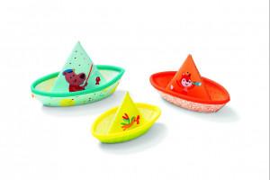 Lilliputiens - 3 plovoucí lodičky - hračka do vody - sleva - promáčklý obal