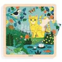 Dřevěné puzzle - kočička Lily - 16 ks