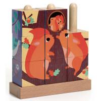 Dřevěná skládačka z kostek - Lesní zvířata