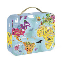 Dětské oboustranné puzzle v kufříku - Zeměkoule - 208 ks sleva - poškozený obal