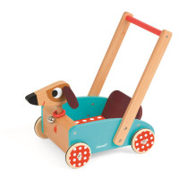 Dřevěný chodítko a vozík - pes