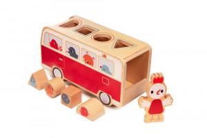 Lilliputiens - dřevěný vkládací autobus se slepičkou Paulette