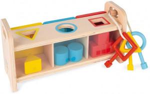 Vkládání a třídění tvarů se zámky a klíči - série Montessori