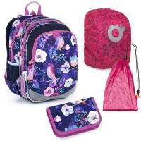 Sada pre školáčku Topgal ELLY 21004 G SET LARGE - školská taška, vrecko na prezuvky, pláštenka na batoh, školský peračník