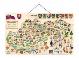 Magnetická mapa Slovenska s obrázky a společenská hra, 3v1