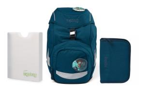 Školní set Ergobag prime - Eco blue -batoh + penál + desky
