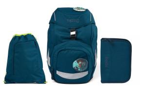 Školní set Ergobag prime - Eco blue - batoh + penál + sportovní pytel
