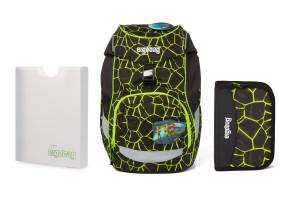 Školní set Ergobag prime - Fluo dragon -batoh + penál + desky