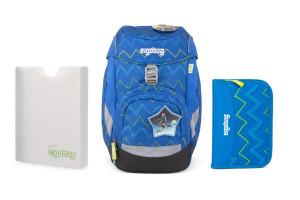 Školní set Ergobag prime - Modrý zig zag 2021 -batoh + penál + desky