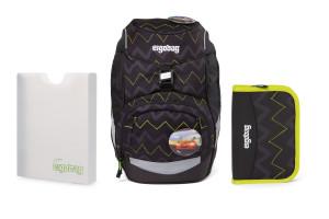 Školní set Ergobag prime - Černý zig zag 2021 -batoh + penál + desky