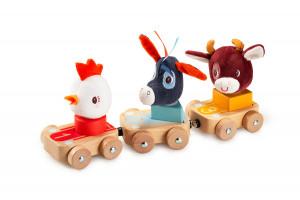 Lilliputiens - set 3 dřevěných autíček - Farma