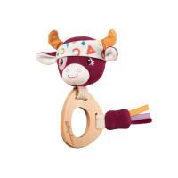 Lilliputiens - drevené hryzadielko s hrkálkou - kravička Rosalie