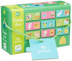 Puzzle Duo - Kde zvířátka bydlí (pelíšky)