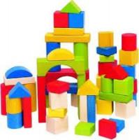 Stavebnica kocky prírodné a farebné v kartóne