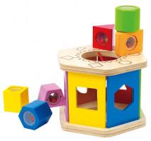 Drevené skladačka so zmyslovými kockami